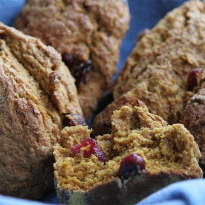 Whole Wheat Cranberry Walnut Pumpkin Scones