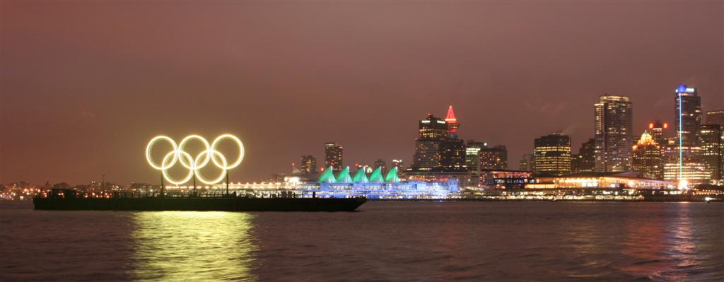 Vancouver Skyline With Olympic Rings GOLD Large