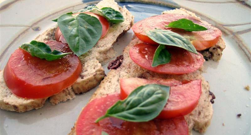 Tomato Basil On Olive Bread