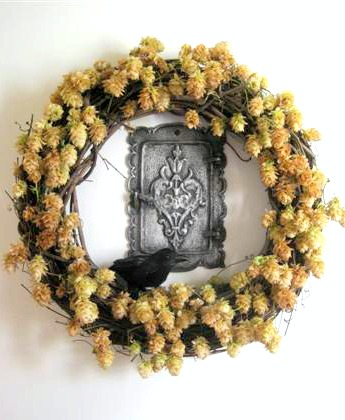 Halloween Golden Hop Wreath With Crow