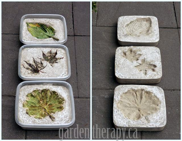 Leaf Imprint Concrete Stepping Stones