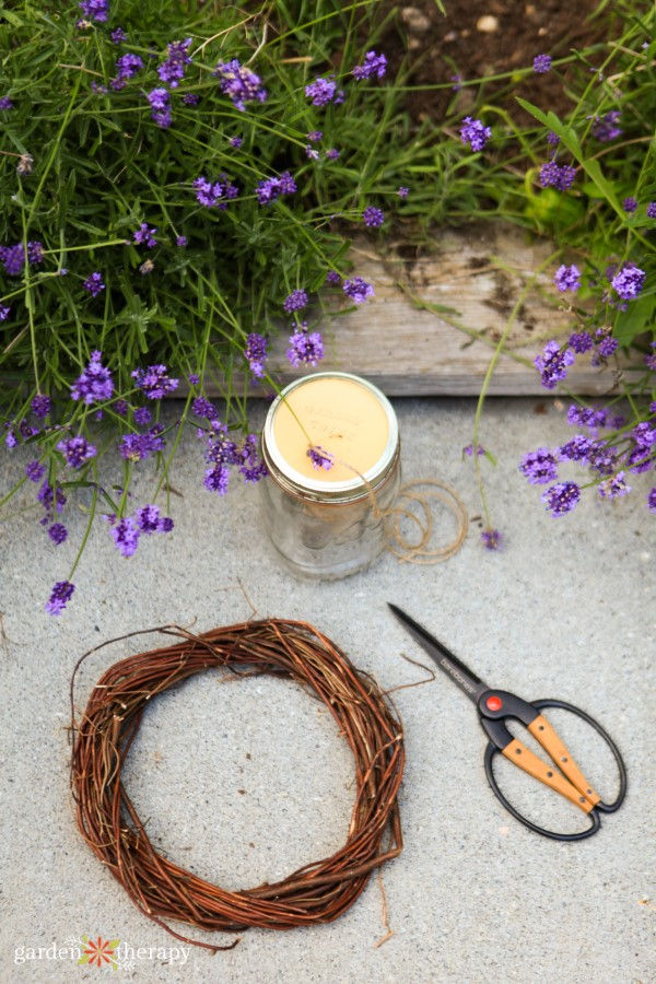 materials for a lavender wreath