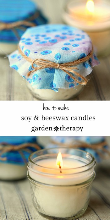 All Natural soy and beeswax mason jar candles scented with essential oils - these make a great homemade gift