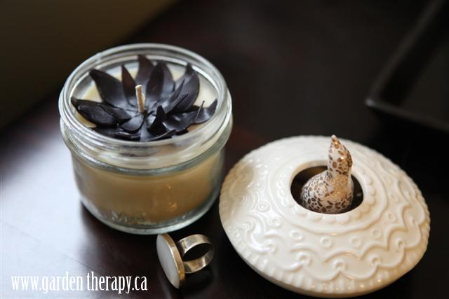 Black beeswax flower candle topper