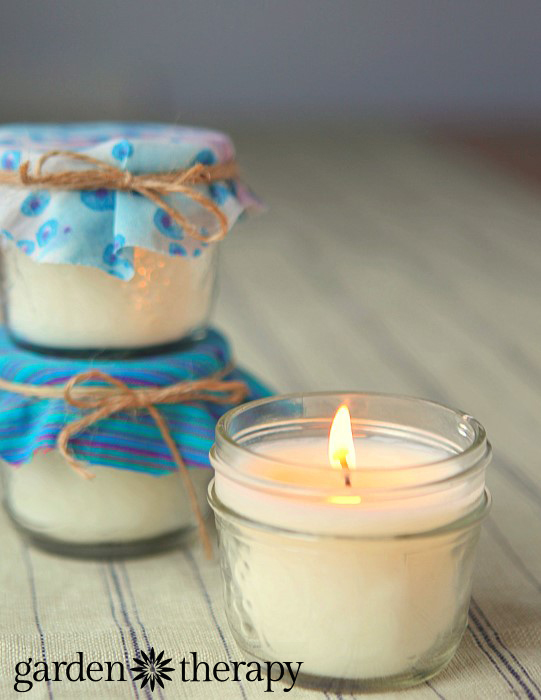 handmade gift idea - mason jar candles with natural wax and scents