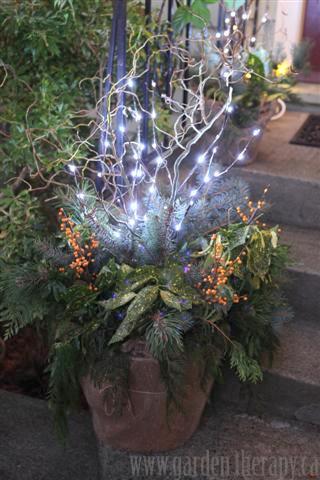holiday planters at night
