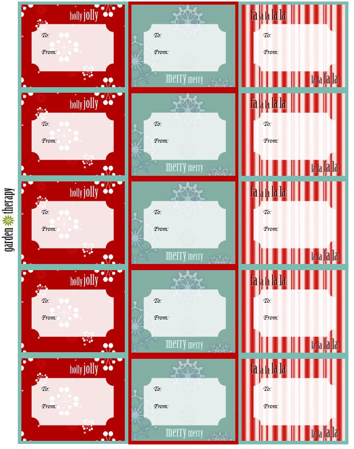 Free Holiday Printable Gift Tags Red and Teal