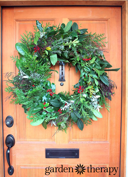 Gorgeous evergreen wreath made completely and totally for FREE