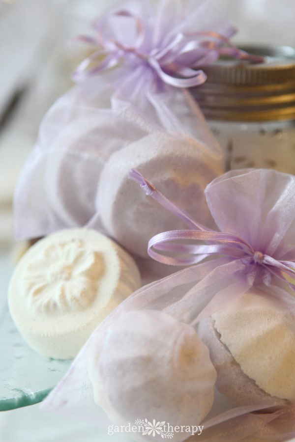 Homemade Bath Bombs in purple guaze bags