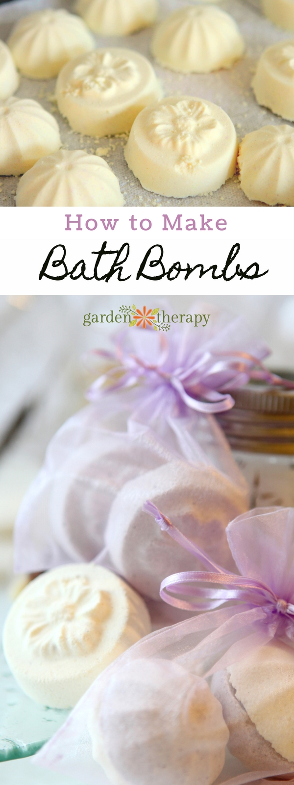 Love those awesome fizzing bath bombs but don't want to spend $6 a piece? It's easy to make your own with natural ingredients that soften your skin for a fraction of the price. #gardentherapy #bathbomb #plantbasedbeauty #naturalbeauty