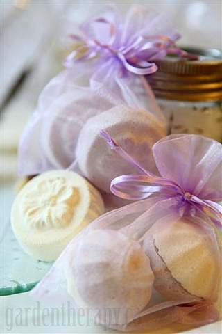 Package bath bombs in gauzy bags for gift-giving