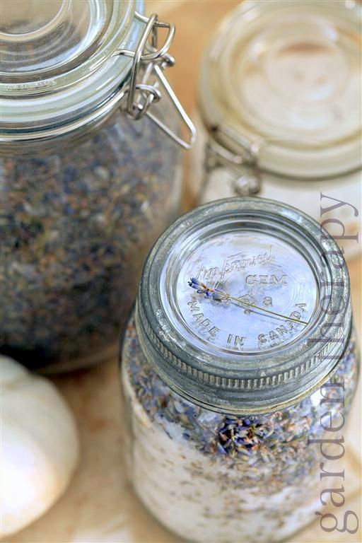 Lavender Bath Salts Recipe in beautiful vintage jars