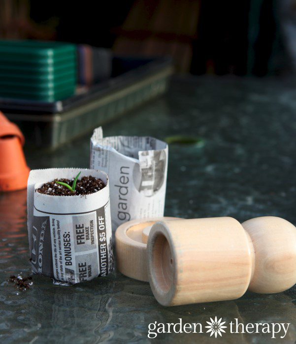 Making newspaper pots is simple, thirfy and fun. Lots more ideas for the best and worst seed starting containers to make as well