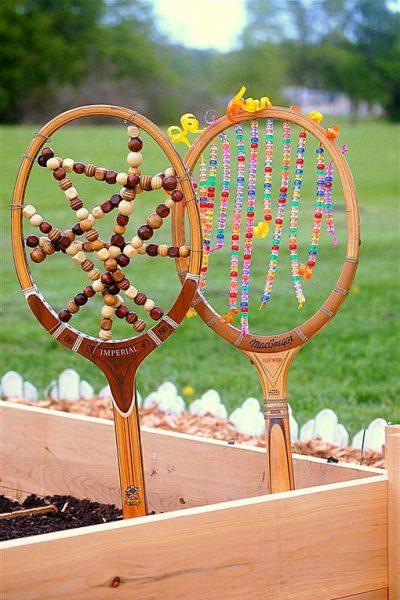 Tennis Racket Garden Art