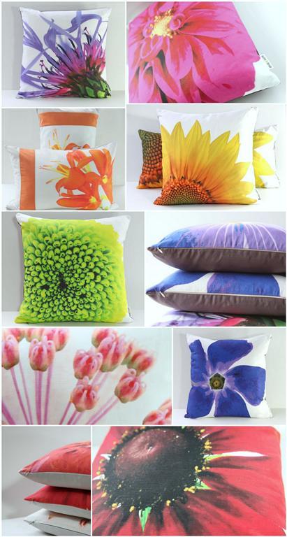 modern flower print throw pillows