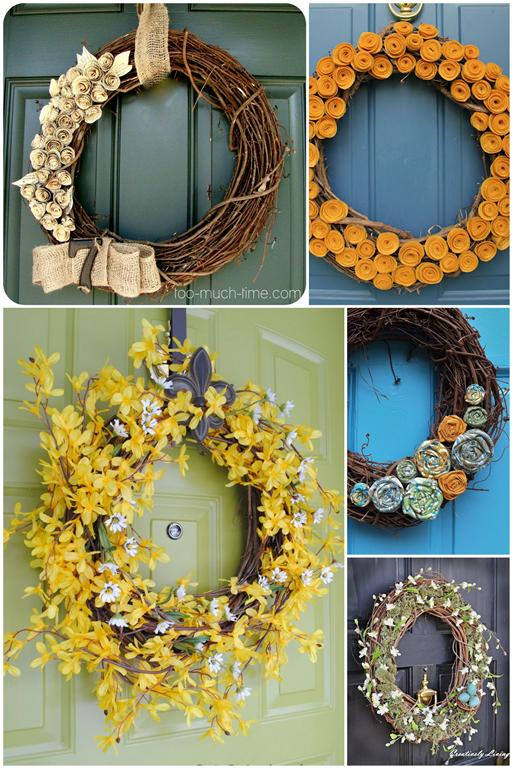 Fabric flower Grapevine wreath ideas