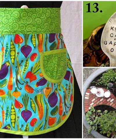 Handmade Mother's Day Gift Ideas for Garden Loving Moms apron plant labels mini garden