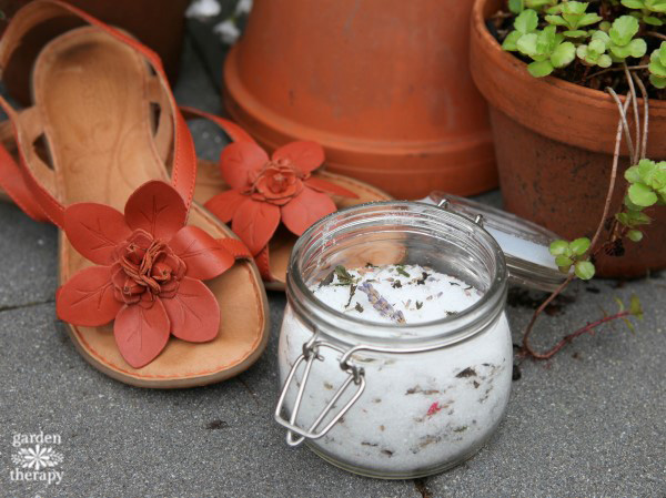 Herbal Foot Soak Recipe with sandals