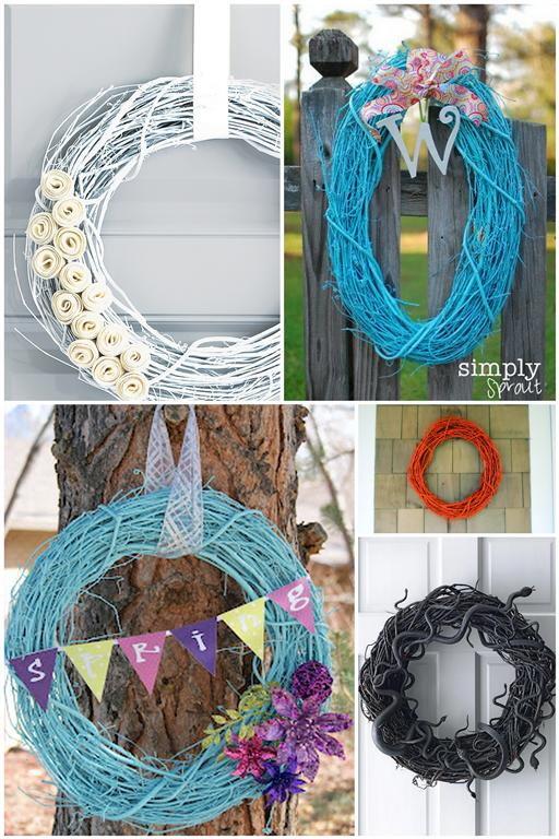 Painted Grapevine wreath ideas projects