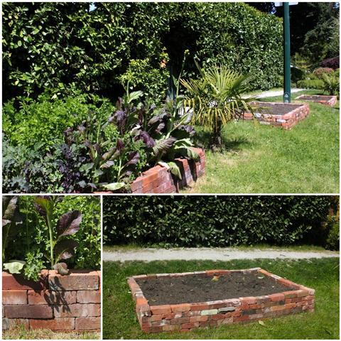 Recycled Brick Raised Vegetable Garden Bed