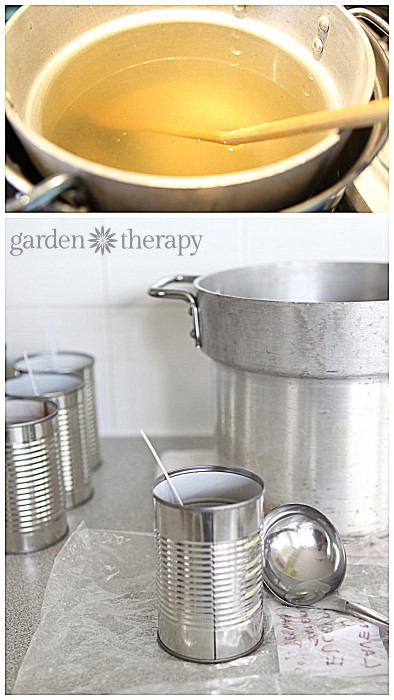 DIY Candles in Cans Step 3 via Garden Therapy