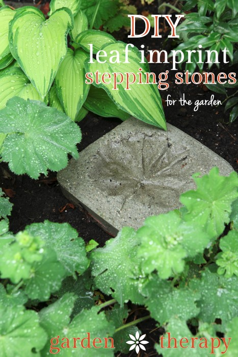 DIY Leaf Impring Stepping Stones simply and inexpensively made from concrete - make plenty for the garden