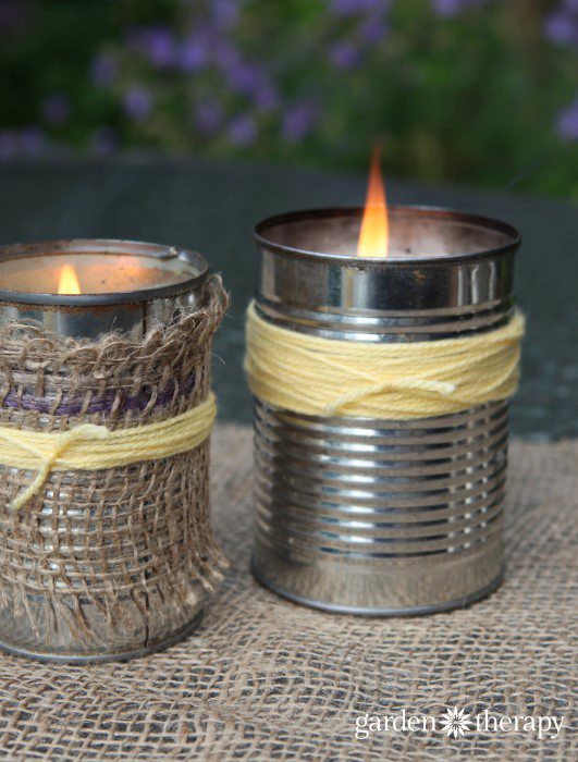 Keep mosquitoes from spoiling the party with upcycled citronella candles