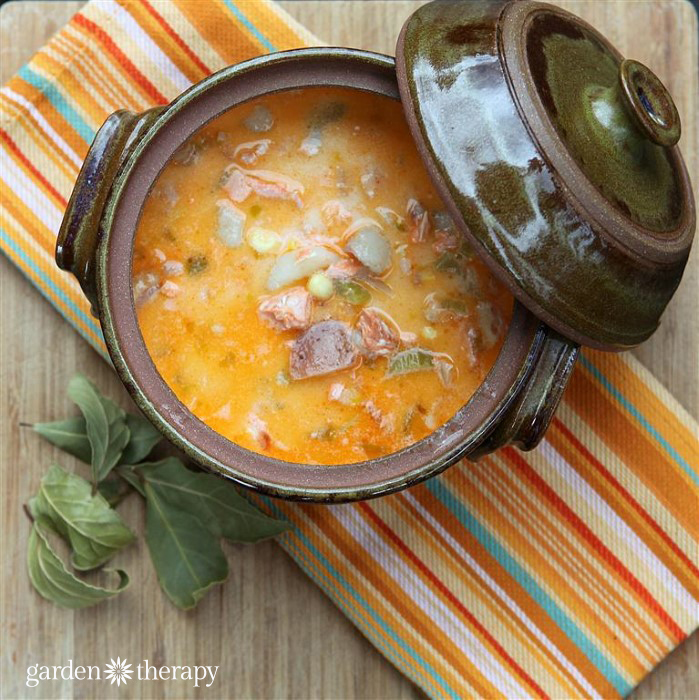 Westcoast Salmon Chowder recipe with wild chanterelles