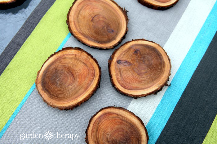 Wood slice coasters wedding idea