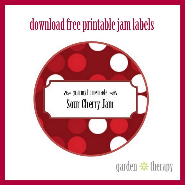 Sour Cherry Jam Printable Label