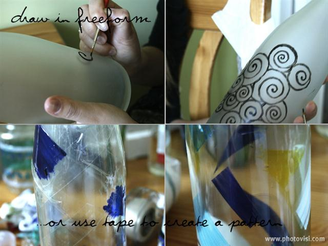 how to paint a bottle vase