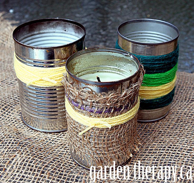 burlap and yarn wrapped cans