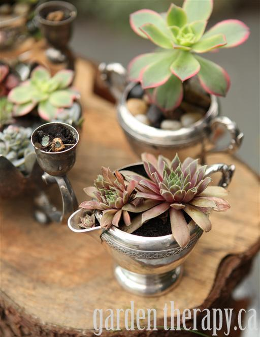 Plant up vintage silver for a stunning table display
