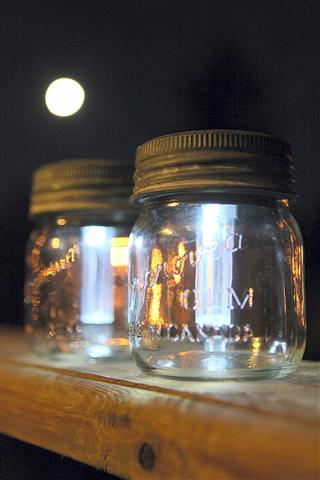 Mason Jar Solar Lights and Full Moon