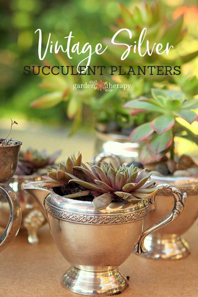 vintage silver succulent planters
