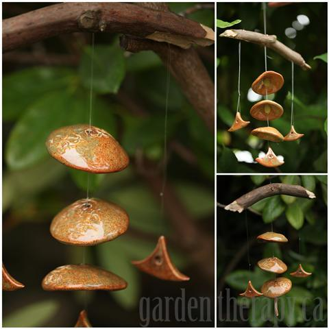 Bamboo glazed ceramic and branch wind chime