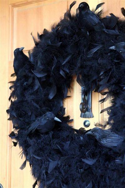 Black Halloween Crow Feather Wreath