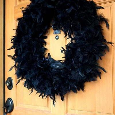 Halloween Crow Feather Wreath
