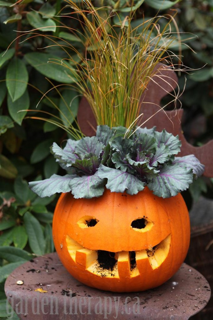 how to make a jack o lantern planter