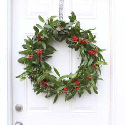 A Very Merry Fresh Holly Wreath for Christmas