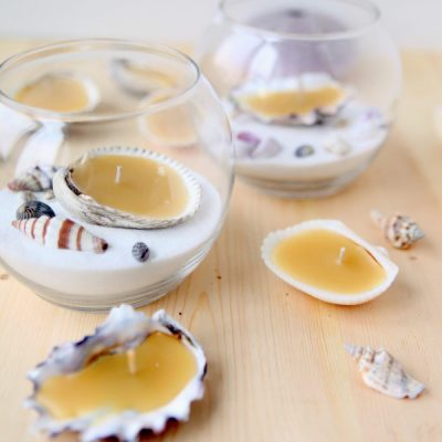 Seashell Beeswax Tea Lights