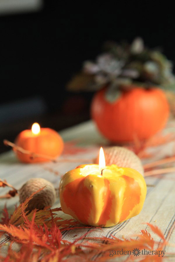 Ornamental gourd tea lights