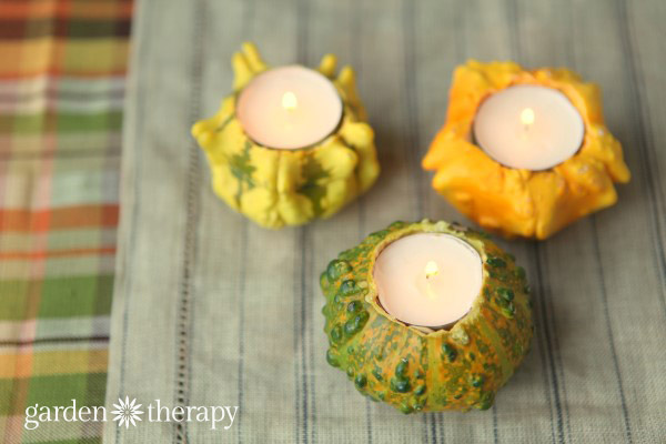 Quick and easy fall candles from gourds
