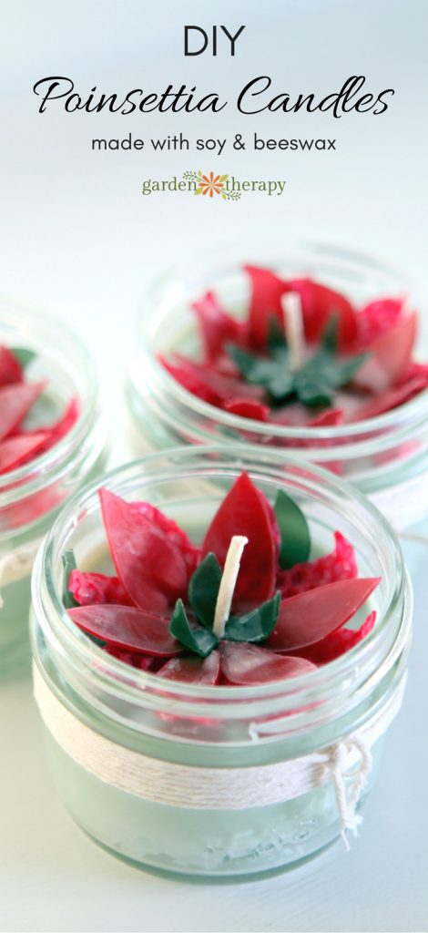 These poinsettia candles make for a fun handmade Christmas project. They are made with beeswax and soy wax and scented with festive essential oils.