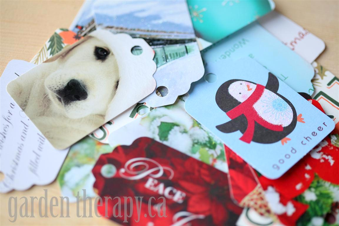 Holiday Gift Tags made from recycled Christmas cards