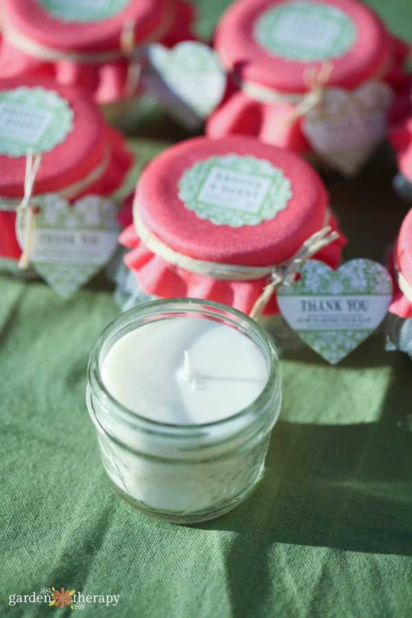 jam jar candle wedding favors
