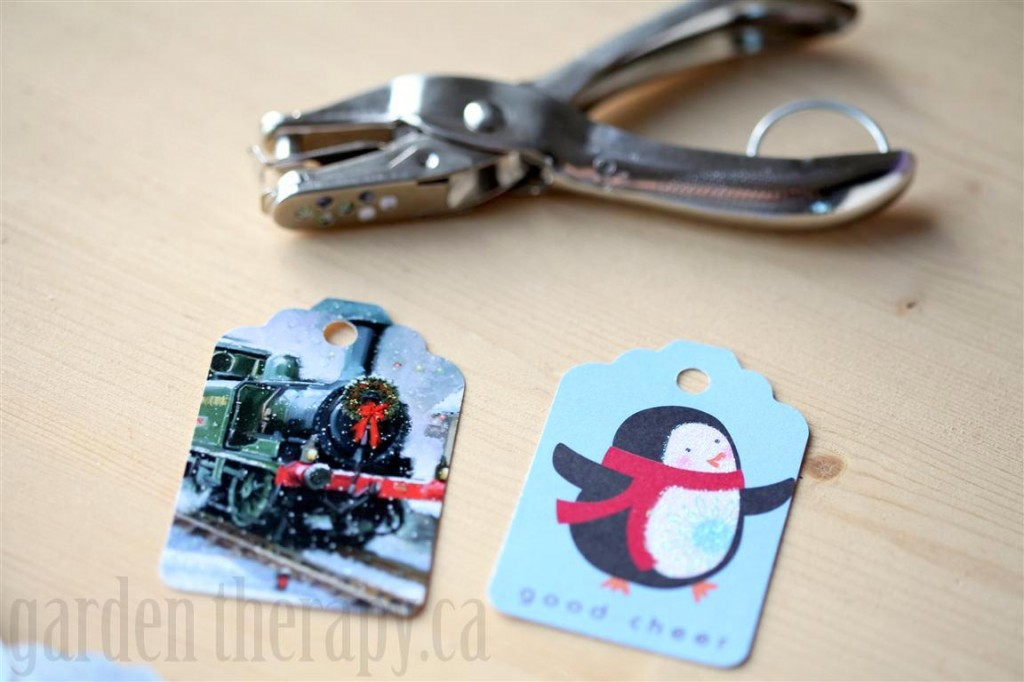 Punch holes in gift tags