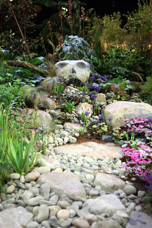 Lawn free landscaping with river stones