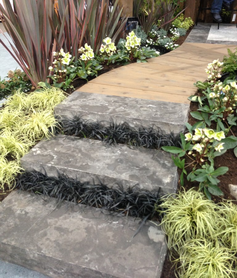 Plantings in between stair risers