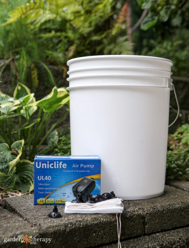 Supplies for making an aerated compost tea brewer such as air pump, nut bags and large white bucket